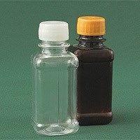 Бутылка квадратная 125 мл натуральная с крышкой и контрольным кольцом ПЭТ