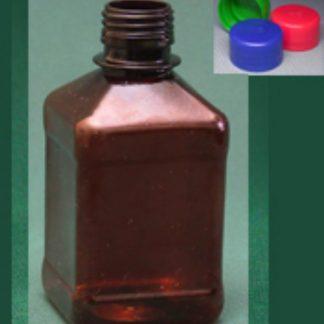 Бутылка квадратная 510 мл коричневая с крышкой  ПЭТ