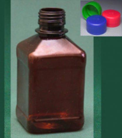 Бутылка квадратная 540 мл коричневая с крышкой  ПЭТ