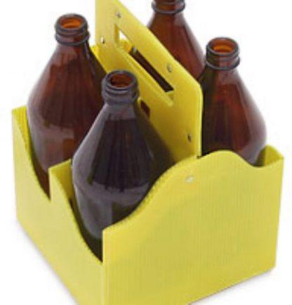 Переноска 4-х бутылок (1л. стекло) полипропилен (гофра)
