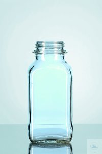 Склянка квадратная 1000 мл (d горловины 60 мм) (свет.ст.) с винт. кр.(Duran 23 820 54)